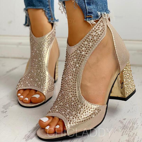 De mujer PU Tacón ancho Sandalias Salón Encaje Tacones con Rhinestone Cremallera zapatos