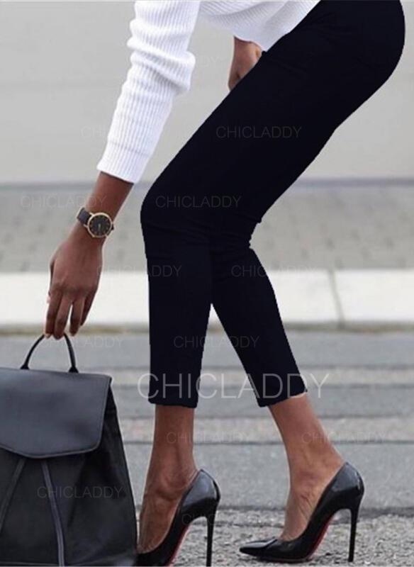 Jednolity Duży rozmiar Nieformalny Seksowny Chudy Spodnie