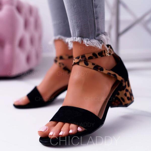 De mujer Ante Tacón ancho Sandalias Salón Encaje Tacones con Hebilla Estampado de animales zapatos