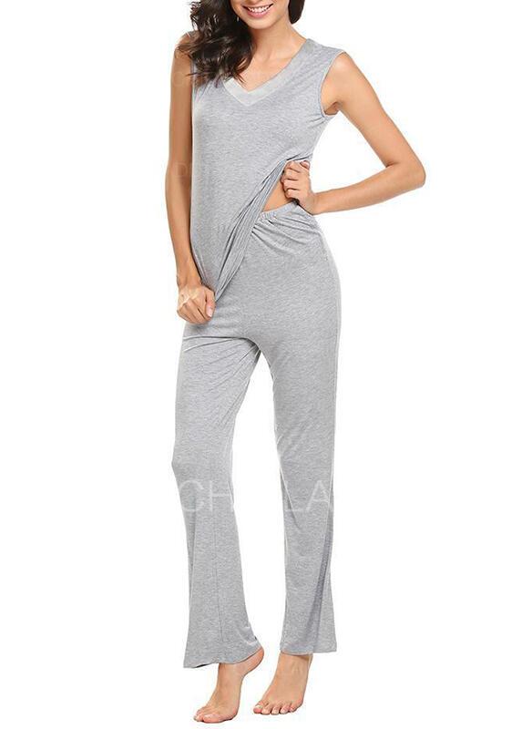Cuello en V Sin mangas Color sólido Casual Conjuntos de top y pantalones