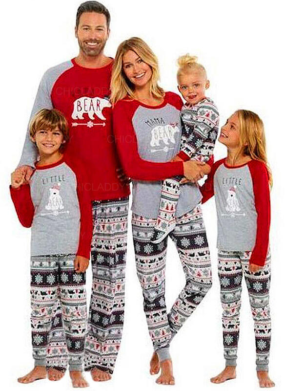 Bear Brev Print Matchande familj Jul Pyjamas