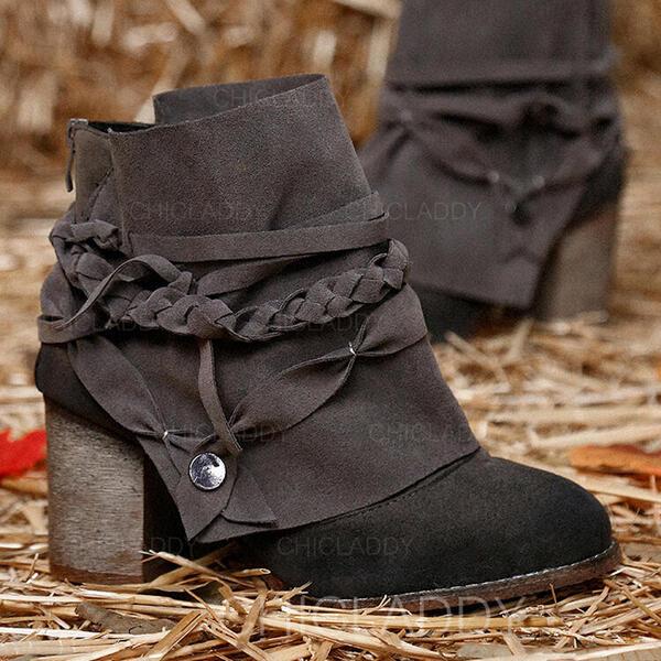 Donna PU Tacco spesso Stivali alla caviglia Martin boots Punta rotonda con Allacciato Listino alla caviglia scarpe