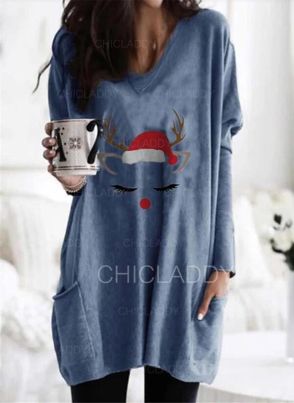 halloween Tisk Kulatý Výstřih Dlouhé rukávy Vánoční mikina