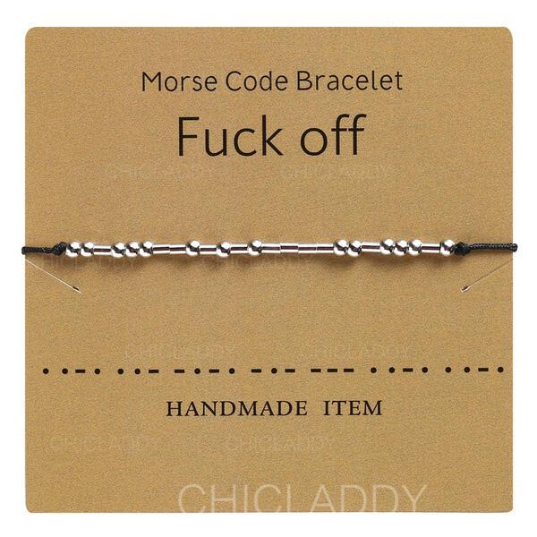 Jednoduchý Morseova abeceda Slitina Opletené lano Dámské Náramky