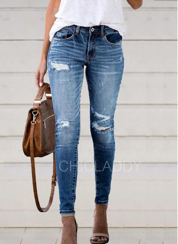 Algodão Jean Grandes Casual Bolso rasgado Button Calças Jeans