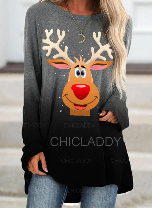 Animal Print Kulatý Výstřih Dlouhé rukávy Vánoční mikina
