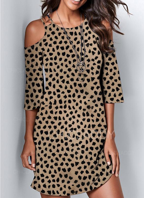 Impresión/Leopardo Mangas 3/4 Tendencia Sobre la Rodilla Casual Vestidos