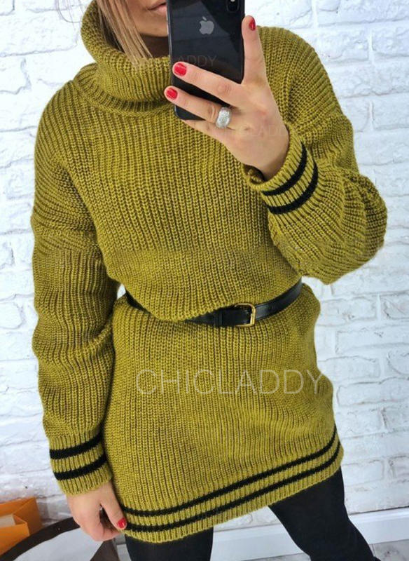 Striped Long Sleeves Sheath Above Knee Casual Sweater Dresses