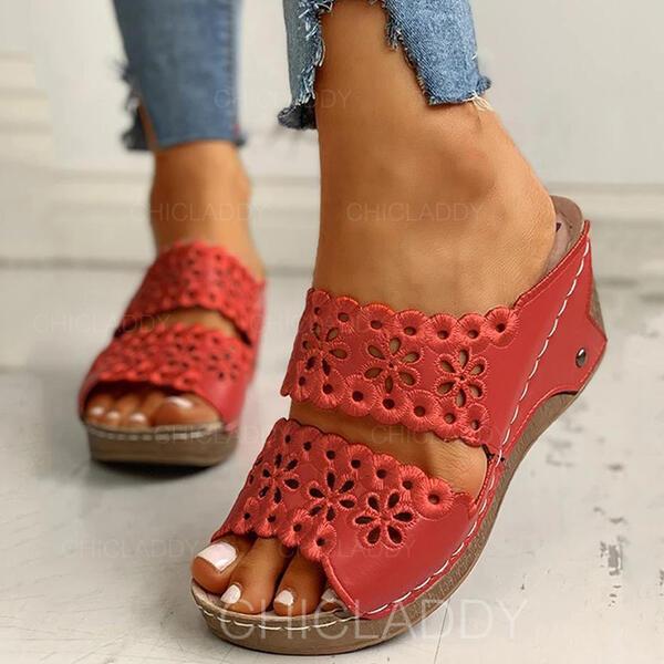 De mujer PU Tipo de tacón Sandalias Cuñas Encaje Pantuflas Tacones con Agujereado zapatos
