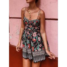 Print/Floral Sleeveless A-line Above Knee Casual/Boho/Vacation Slip/Skater Dresses