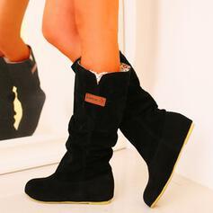 De mujer PU Tacón bajo Botas longitud media Botas de nieve con Color sólido zapatos