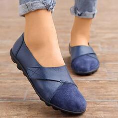 Pentru Femei PU călcâi plat Balerini Vârf scăzut Mocasini cu Culoare solida pantofi