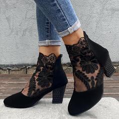 婦人向け スエード チャンクヒール ブーツ とともに アップリケ ステッチレース ジッパー フローラル 靴
