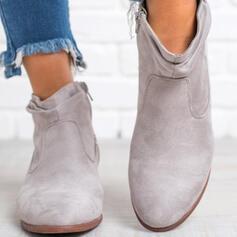 De mujer Ante Tacón ancho Botas al tobillo Dedo del pie puntiagudo con Cremallera Otros Color sólido zapatos