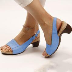 De mujer PU Tacón ancho Sandalias Encaje Solo correa Pantuflas con Hebilla zapatos