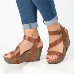 De mujer PU Tipo de tacón Sandalias Encaje con Velcro zapatos