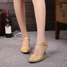 De mujer zapatos de personaje Tacones Salón Brillo Chispeante con Tira de tobillo Danza latina