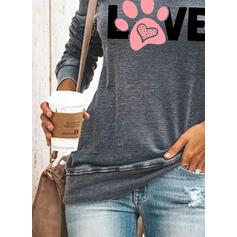 Animal Print Postava Kulatý Výstřih Dlouhé rukávy Mikina