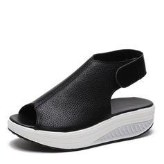 PU Sem salto Sandálias Sem salto com Velcro sapatos
