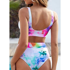 Splice färg Rem U-ringning Sexig bikini Badkläder