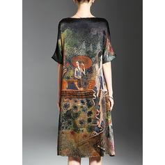 Estampado 1/2 Manga Shift Comprimento do joelho Casual T-shirt Vestidos
