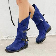 De mujer PU Tacón bajo Botas Botas longitud media con Hebilla Cremallera zapatos