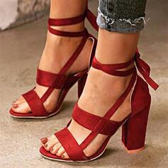 De mujer PU Tacón ancho Sandalias con Cordones zapatos