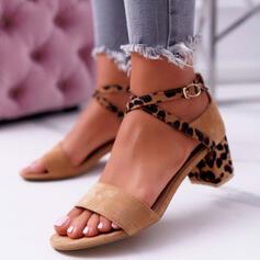 De mujer Ante Tacón ancho Sandalias Encaje con Hebilla Estampado de animales zapatos