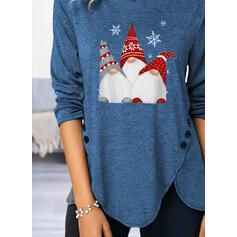 Stampa Girocollo Maniche lunghe Bottone Casuale Natale Camicie