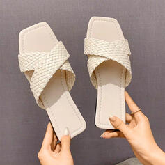 Dla kobiet Skóra ekologiczna Płaski Obcas Sandały Czólenka Bez Pięty Kapcie obuwie