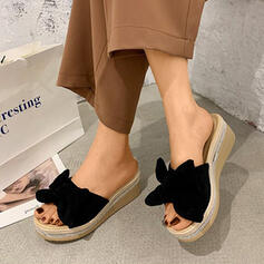 Καστόρι Γωνία κλίσης Σανδάλια Σφήνες Παντούφλες Με Bowknot Στερεό χρώμα παπούτσια