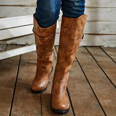 De mujer PU Tacón ancho Botas con Hebilla Color sólido zapatos