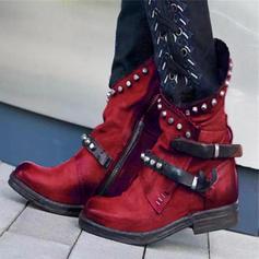 De mujer PU Tacón bajo Botas con Rivet Hebilla zapatos