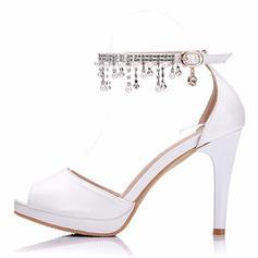 Pentru Femei Imitaţie de Piele Toc Stiletto Puţin decupat în faţă Platformă Încălţăminte cu Toc Înalt cu Ciucure Cristal