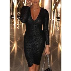 Sequins Long Sleeves Bodycon Knee Length Little Black/Party/Elegant Pencil Dresses