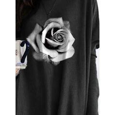 Nadruk Kwiatowy Okrągły dekolt Długie rękawy Casual Bluzki
