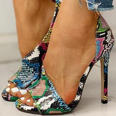 De mujer PU Tacón stilettos Sandalias Encaje con Estampado de animales zapatos
