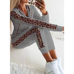 Leopard Neformální Sportovní Plus velikost Dvoudílné outfity