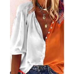 Цветной блок V шеи Рукава 3/4 Кнопка вверх Повседневная Рубашка Блузки