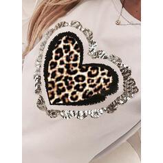 Flitry Leopard Kulatý Výstřih Dlouhé rukávy Neformální Trička