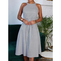 Print Sleeveless A-line Knee Length Casual Skater Dresses