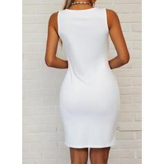 Pevný Bezrukávů Přiléhavé Nad kolena Elegantní Šaty