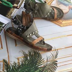 PU Talon plat Sandales Chaussures plates À bout ouvert avec Boucle chaussures