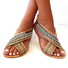 De mujer PU Tacón plano Sandalias Encaje con Material Block zapatos