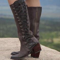 De mujer Cuero Tacón ancho Salón Botas con Cremallera zapatos
