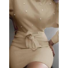твердый/украшенные бусы Длинные рукова Bodycon Выше колена элегантный Платья