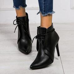 Mulheres PU Salto agulha Bombas com Divisão separada sapatos