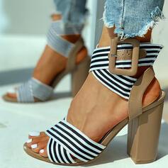 Γυναίκες PU Χοντρό φτέρνα Με Πόρπη Διαφανής παπούτσια
