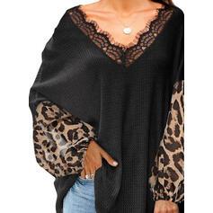 Pizzo leopardo Scollatura a V Maniche lunghe Casuale Camicie