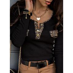 leopardo Scollatura a V Maniche lunghe Bottone Casuale Camicie